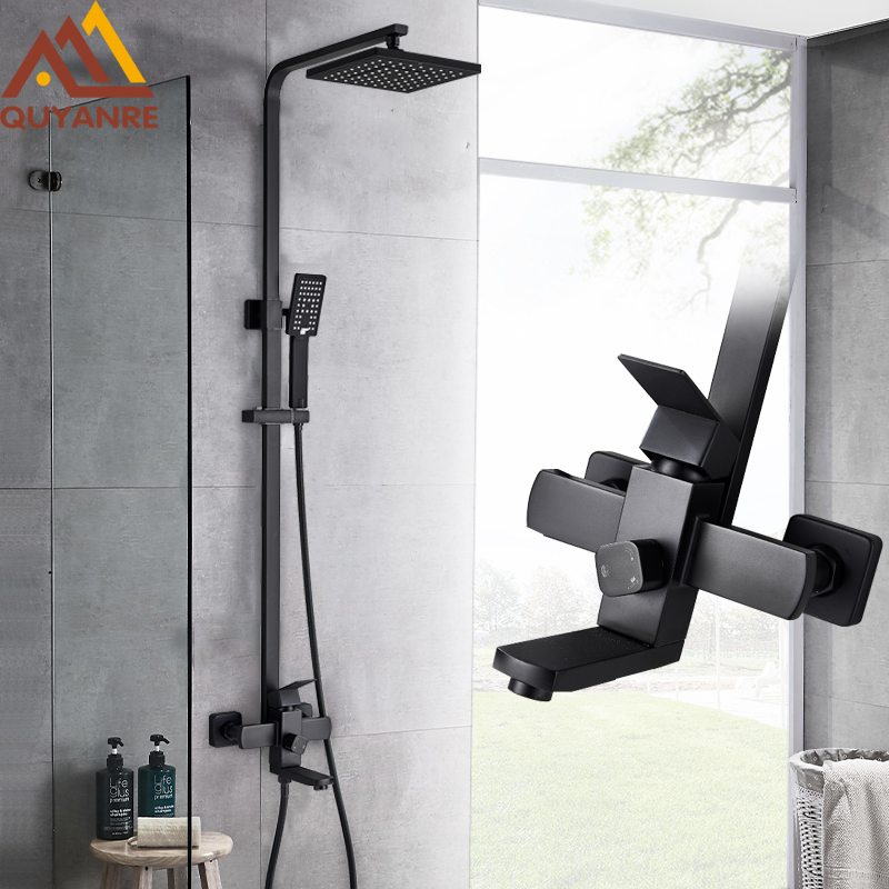 Quyanre Matte Black Bathroom Shower Faucet Set Wall Mount Rainfall Shower Mixer Tap Bathtub Shower Mixer Tap 3-way Shower Mixer