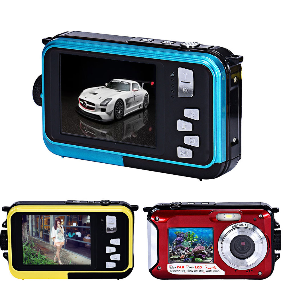 Double Screen Waterproof Camera 24MP 16x Digital Zoom Dive Camera CMOS Dive Camera Home and Outdoor Use HD Nightspot Function