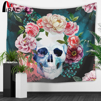 Miracille Punk Skull Art Tapestry Sugar Skulls Pattern Home Wall Hanging Art Hippie Tapestries Beach Throw