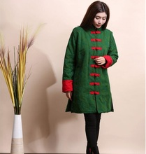 New style Red Green Black Chinese Women cotton linen long jacket Folk retro thick jacquard coat sections