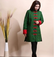 New style Red Green Black Chinese Women cotton linen long jacket Folk style retro thick jacquard coat long sections cotton coat