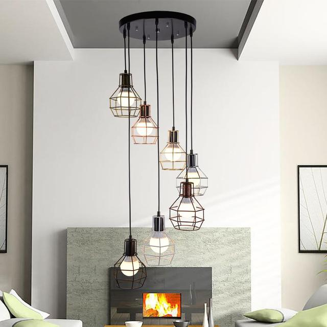 Stairs Lights 7head Double Staircase Retro Multi Pendant Light Creative Restaurant Loft Office Personality Combination Lamp