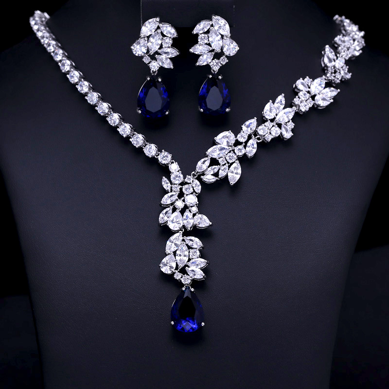 Wedding Bridal Jewellery set  AAA Clear Cubic Zircon Jewelry Sets ,Earrings /Necklace,Promotion,Nickel Free, Factory price