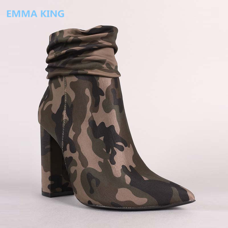 Camouflage Ankle Boots Fold Design Women Autumn Winter Shoes Military Combat Army Boot Pointed Toe Chunky High Heels Ladies Shos