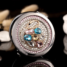 Engrave words free,wedding party bridesmaid gift friend present,bling crystal swan,mini beauty makeup compact pocket mirror