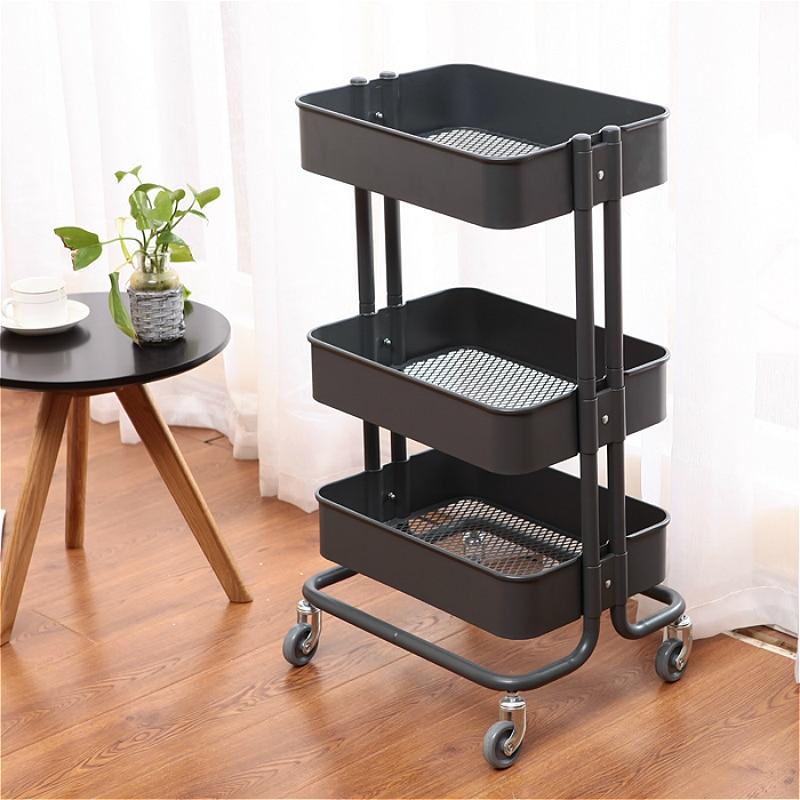 Steel Beauty Salon Cart Multifunction Utility Trolley Waterproof Instrument Cart Slidable With Handle Reinforce Storage Rack