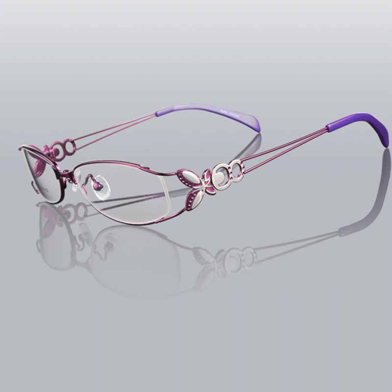 فراشة سبيكة أنيقة نظارات نسائية إطار الإناث Vintage النظارات البصرية عادي صندوق العين النظارات إطارات قصر النظر نظارات