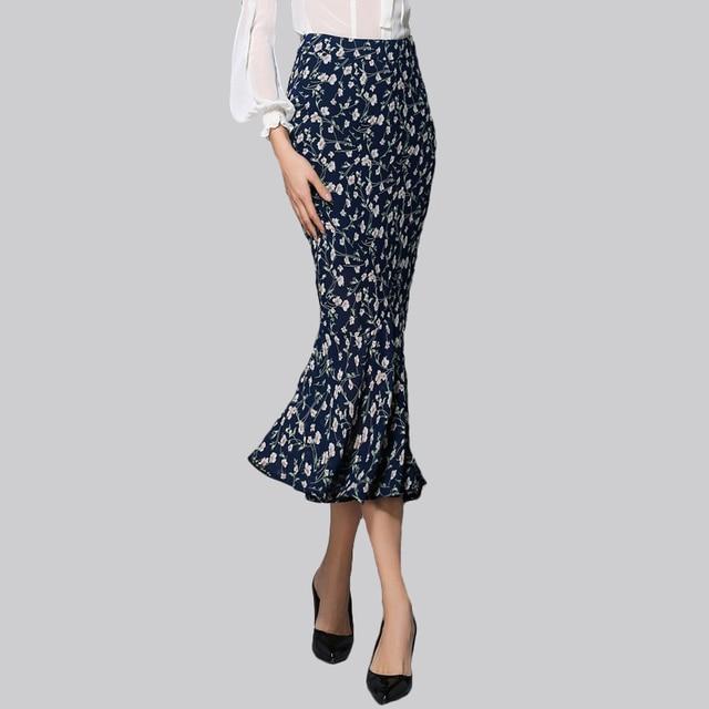 e101ad3f2c Colourstone Style Floral Chiffon Tulle Skirt Navy Blue High Waist Women  Skirt Sexy Slim Long fishtail Pencil Designer Skirt