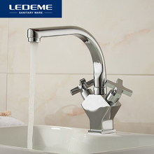 LEDEME Best Quality Brass Kitchen Faucet Pull Out Spray Deck Mounted Sink Mixer Taps Single Handle