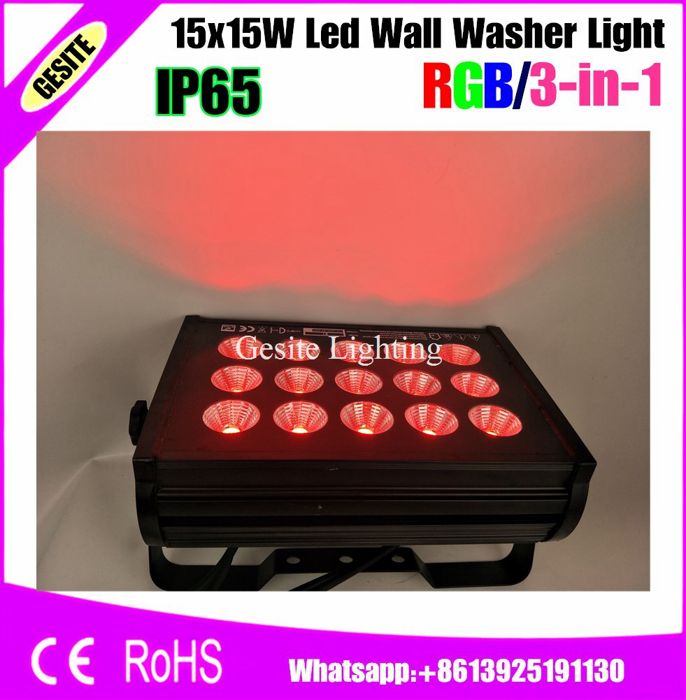 2pcs/lot 15 X 15W 3 in 1 RGB DJ Disco Party Wedding Stage Lights DMX512 outdoor LED City Color