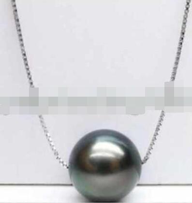 Bijoux AAA + 10-11 MM pendentif perle de tahiti noire collier 925 argentBijoux AAA + 10-11 MM pendentif perle de tahiti noire collier 925 argent