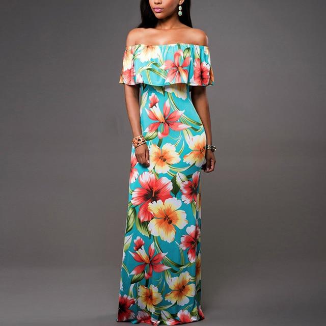 AIEnny Maxi Long Vintage Women Summer Sexy Off Shoulder Floral Print Ruffles Dress