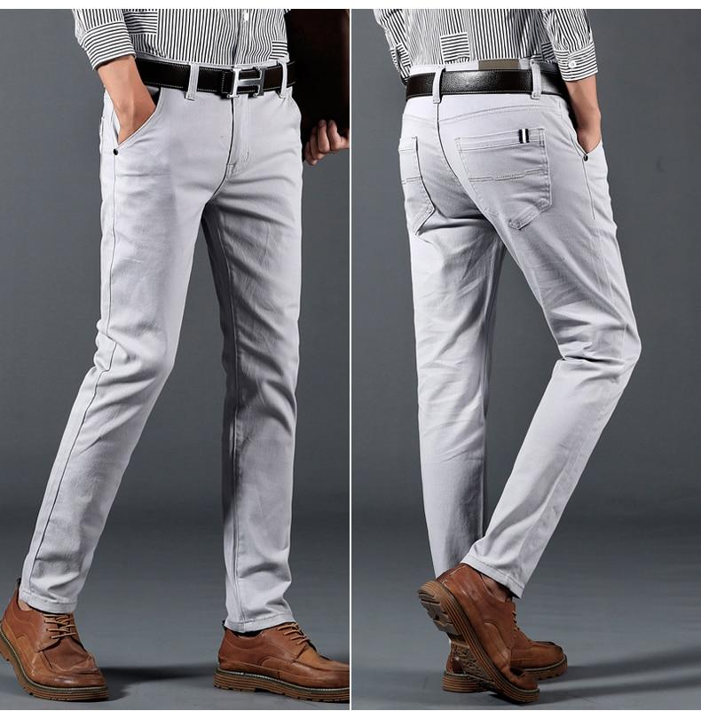 HTB1J439atzvK1RkSnfoq6zMwVXaF 6 Color Casual Pants Men 2019 Spring New Business Fashion Casual Elastic Straigh Trousers Male Brand Gray White Khaki Navy