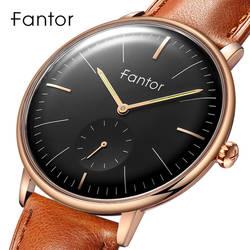 Fantor Брендовые мужские часы кварцевые часы с черным циферблатом кожаный ремешок водонепроницаемые изогнутые наручные часы с Chrono Second Relojes