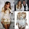 Real Photo Wholesale Fashion Round Neck Golden Beaded Long Sleeve Myriam Fares Celebrity Dress