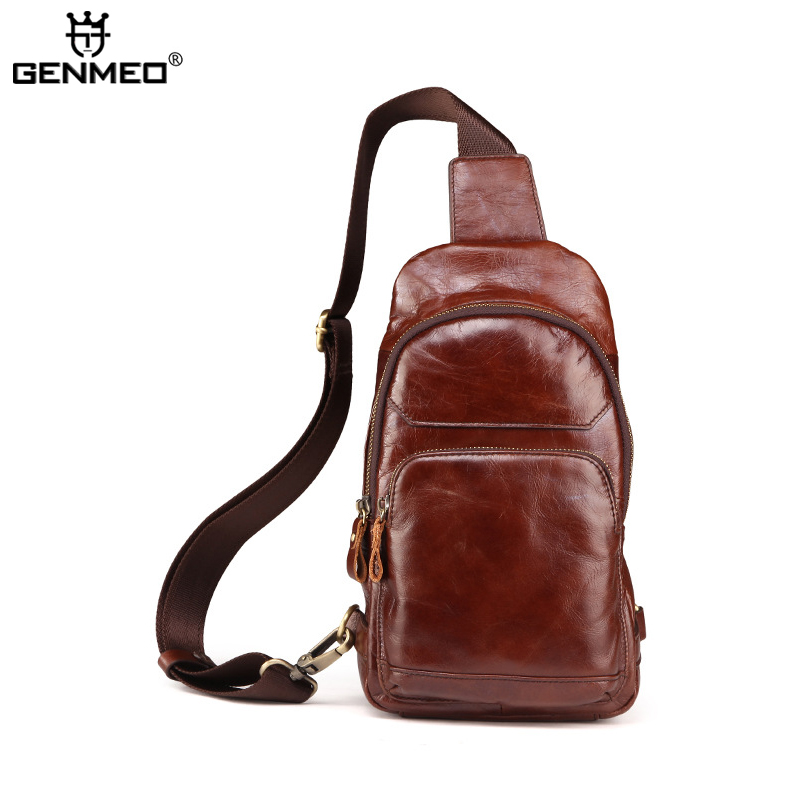 New Arrival Genuine Leather Body-Cross Single Shoulder Bag Cow Leather Coffee Color Messenger Bag Retro Real Leather Tote bags aetoo the new oil wax cow leather bags real leather bag fashion in europe and america big capacity of the bag