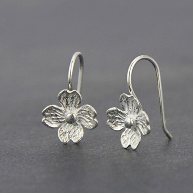 7e9272371 Princess cute simple silver handmade drawing crafts earrings flowers small  fresh female jewelry fashion retro OL earrings