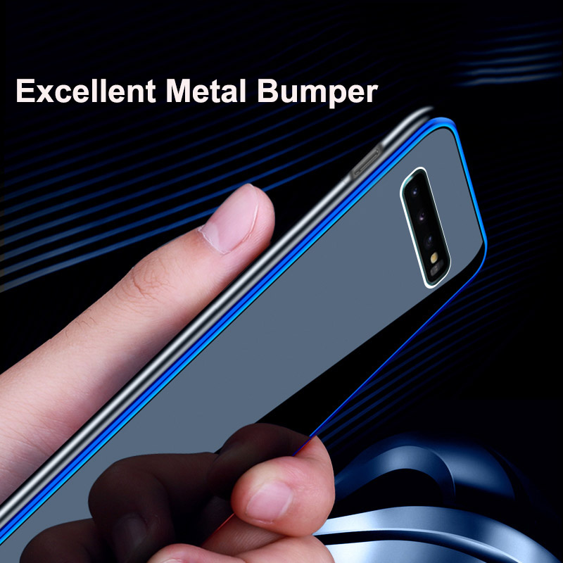 Slim Tempered Glass Case For Samsung S9 Plus Case Metal Frame Plating PC Edge Cover For Samsung Galaxy S9 Plus Note 9 Capa in Fitted Cases from Cellphones Telecommunications