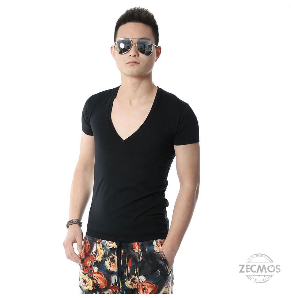 Zecmos Deep V Neck Sexy Men T-Shirt Vintage Short Sleeve Solid Color Muscle Fit T Shirt Men Top Tees Fashion 13