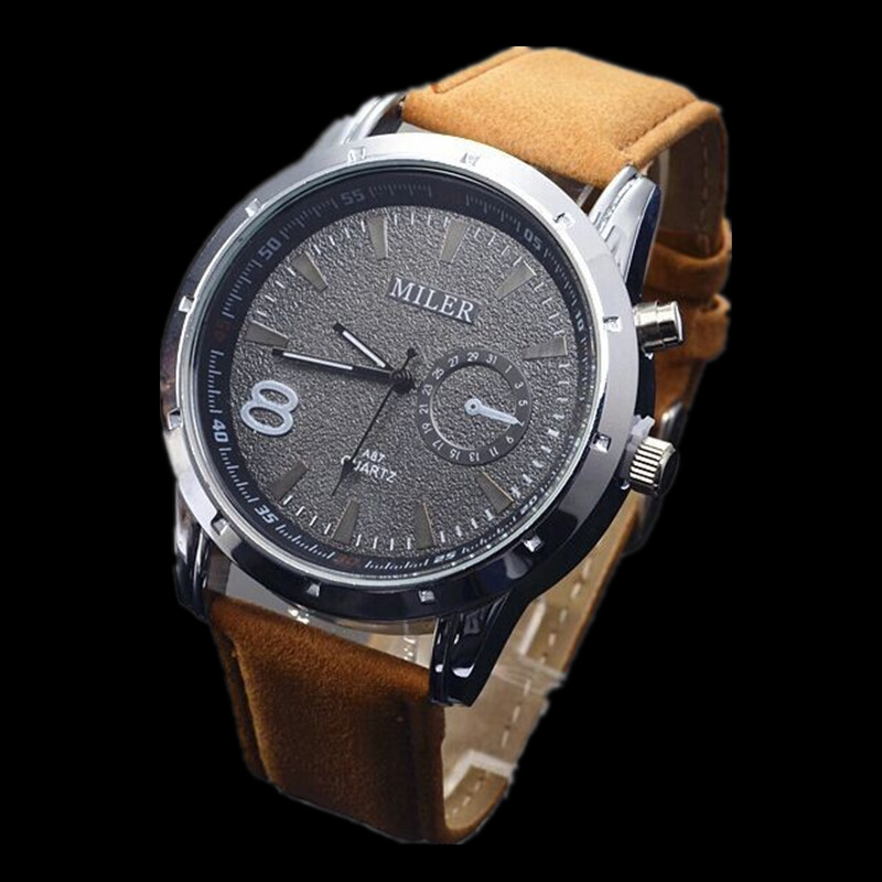 MILER Luxury Brand Watch Leather Band Quartz Watch Fashion Sport Watches Men Casual Army Military Watches Hour relogio masculino liebig luxury brand sport men watch quartz fashion casual wristwatch military army leather band watches relogio masculino 1016