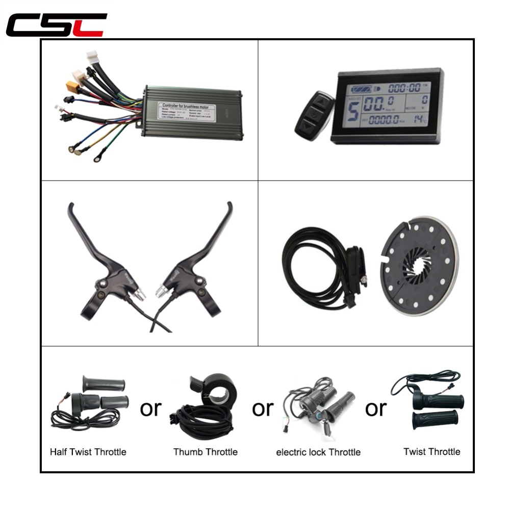 Electric Bicycle Brushless 9 Mosfet Sine Wave Controller LCD3 Display Power cut off Brake lever Throttle