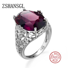 Fashion 925 Sterling Silver Ring Classic Wedding Jewelry Purple Cubic Zircon Rings For