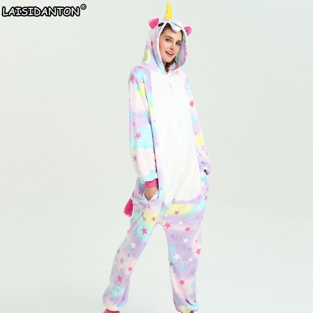 d112e312e9ac LAISIDANTON New Star Unicorn Pajamas Sets Flannel Nightie Kid Adult pijama  de unicornio Cosplay Costume Pajamas Sleepwear Unisex