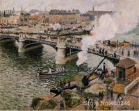 Canvas Art Reproduction The Pont Boieldieu, Rouen, Damp Weather Camille Pissarro Paintings for sale hand painted High quality