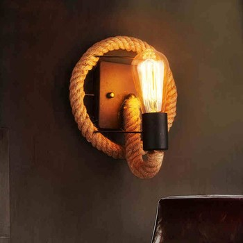 Retro Vintage Fixtures Loft Industrial rope wall lamp with Edison bulb Wall light Restaurant Bar Cafe aisle round wall sconce