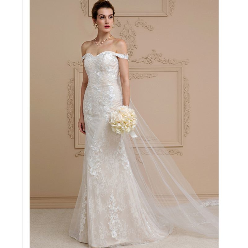 AliExpress LAN TING BRIDE Beach Wedding Dress Backless Off-the-shoulder  Sleeveless Cathedral Train Lace ab9fc9bb2269