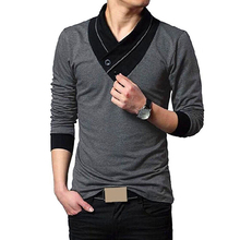 Men's Autumn Stylish Casual Button Slim Fit V Neck Long Sleeve T-Shirt Tee Top