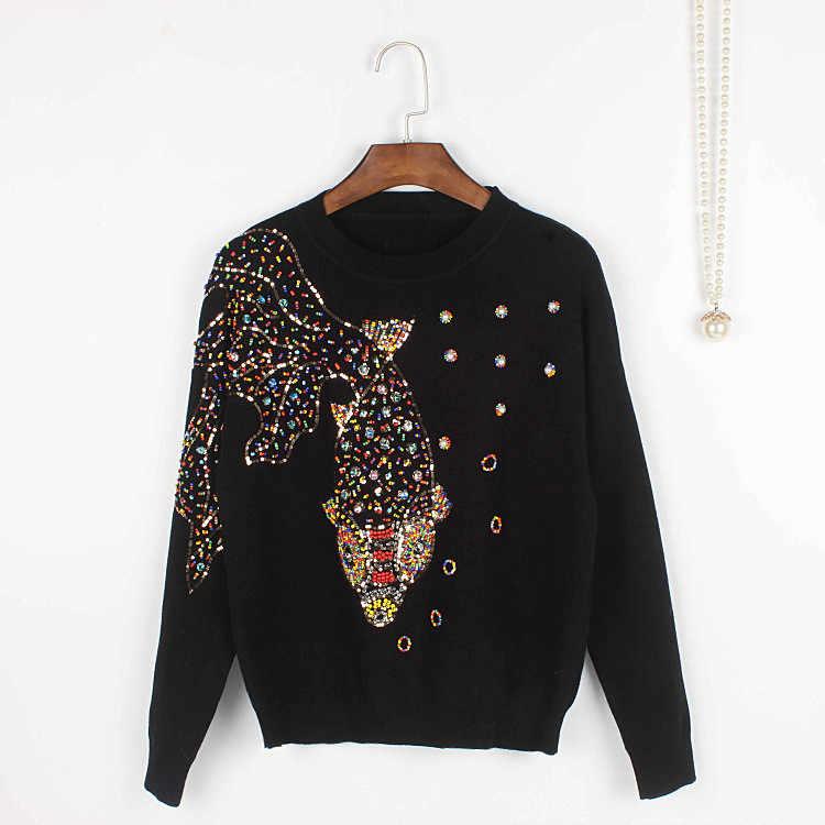 91e075e63e9 Brand Handmade GoldFish Beading Jumper Winter New Women Sweaters pullovers  Knit Tops Luxury Fashion Jersey Runway Black Gray