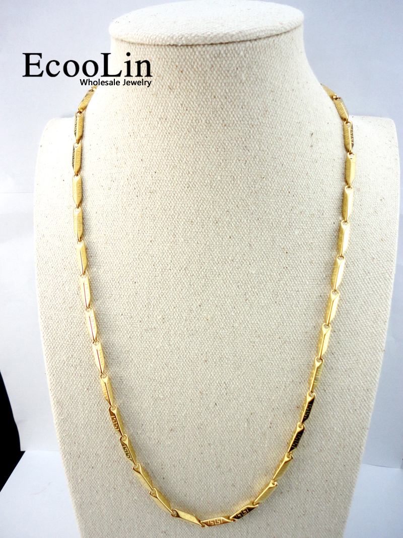 EcooLin 22.06 inch Bambu Emas Stainless Steel Rantai 56 Cm Diameter 3.8mm Tidak Pernah pudar Kalung Untuk Wanita Fashion Jewelry LR531
