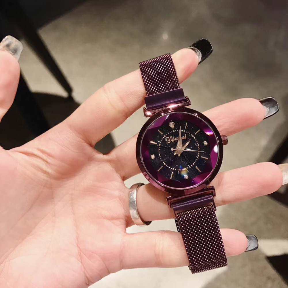 Nouvelle couleur Anti décoloration violet montres pour femmes à facettes verre cristal montre populaire Bracelet milanais montre-Bracelet aimant boucle