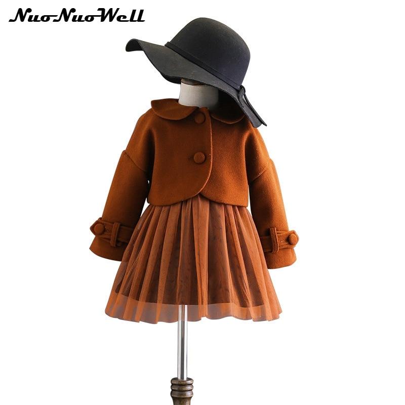 Girls Clothing Sets 2 Pieces Baby Girls Clothing Set Coat +Tutu Ball Gown Dress Autumn Winter Fashion Children Costume 2017 children sets girls winter sweater coat