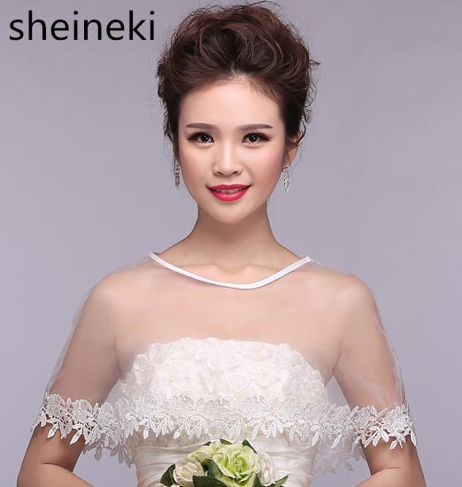 9b8aeae7475 Half Sleeve ivory High Neck bridal lace bolero Crystal Cape low front long  back wedding party shrug women Shawls Accessories