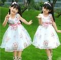 Bebé del cordón del verano vestido de Fiesta de La Boda del Cumpleaños de los bebés vestidos de blanco vestido de princesa vestido DEL TUTÚ del bebé ropa infantil floral