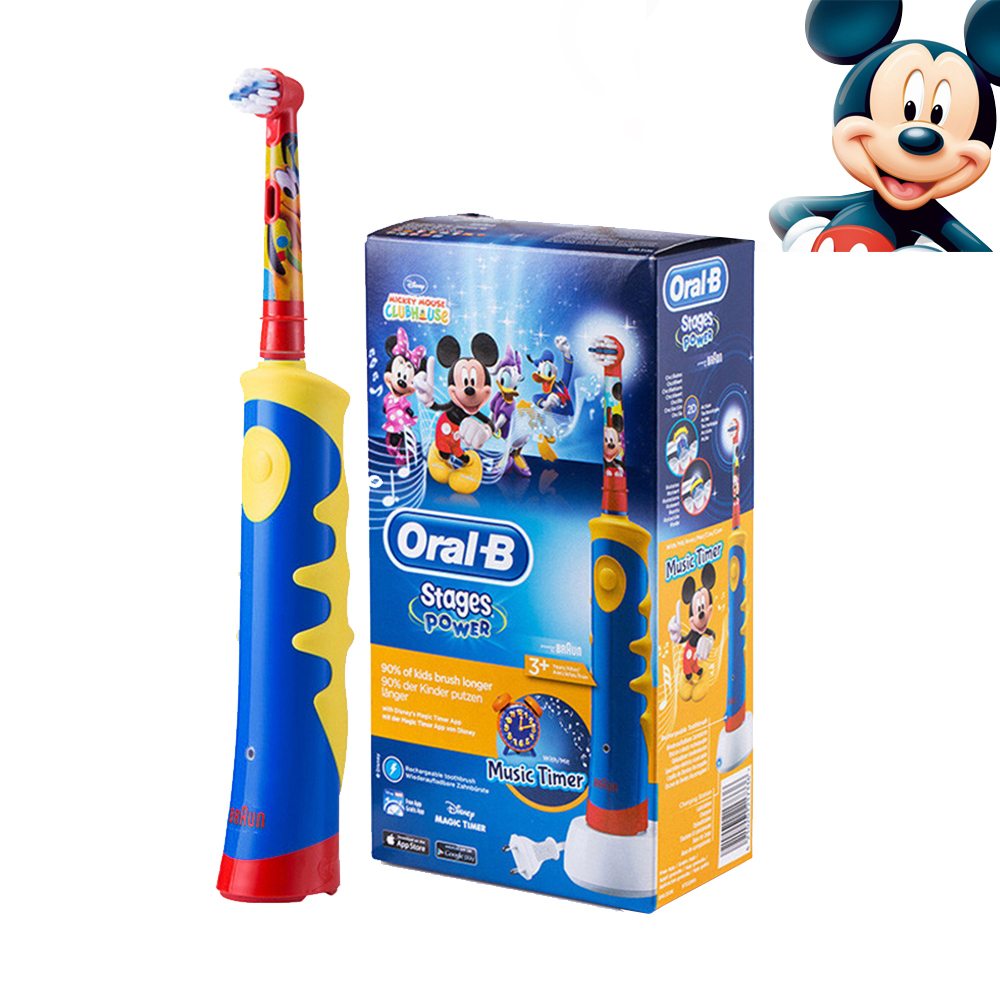 Oral B Braun Children Electric Toothbrush Music Timer Rechargeable Sonic Electric Tooth Brush Mickey Mouse For Kids Teeth Brush ckeyin cartoon dolphin children music electric toothbrush led tooth brush 22000 min kids sonic toothbrush electric 3 brush heads