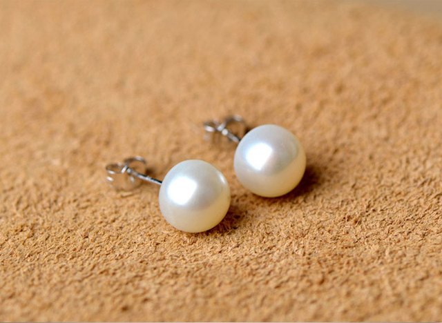 Hot Sale 3 Color 6-9mm 100% 925 Silver Natural Pearl Earrings Classic Fashion Pearl Earrings Jewelry For Women