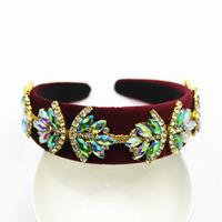 Baroque Crown Rhinestone Beads Hair Bands Crystal Bride Tiaras Wide Headbands Women Party Wedding Hair Jewelry