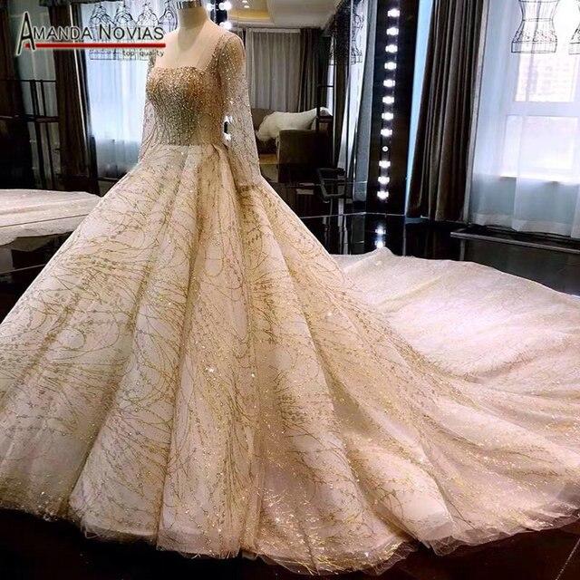 אלגנטי ארוך שרוולים חתונה סדר מותאם אישית שמלת כלה שמלה