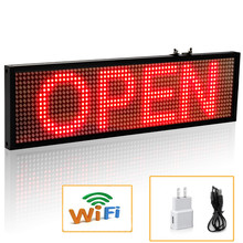 34cm P5 SMD Red WiFi LED Sign Indoor Storefront Open Sign Programmable Scrolling Display Board  Industrial Grade Business Tools