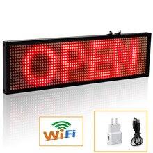 Letrero LED rojo WiFi de 34cm P5 SMD para interior, letrero abierto, tablero de visualización deslizante programable, herramientas de negocios de grado Industrial