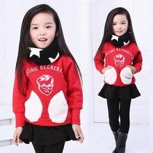 Fashion child 2014 female male child autumn and winter baby girl long-sleeve fleece sweatshirt 5pcs/lot size 100-140