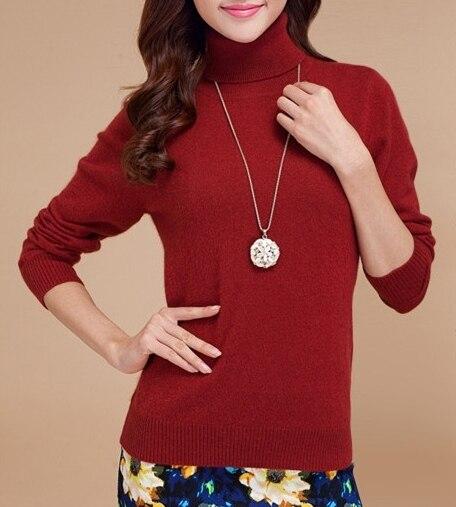 High collar turtleneck sweater