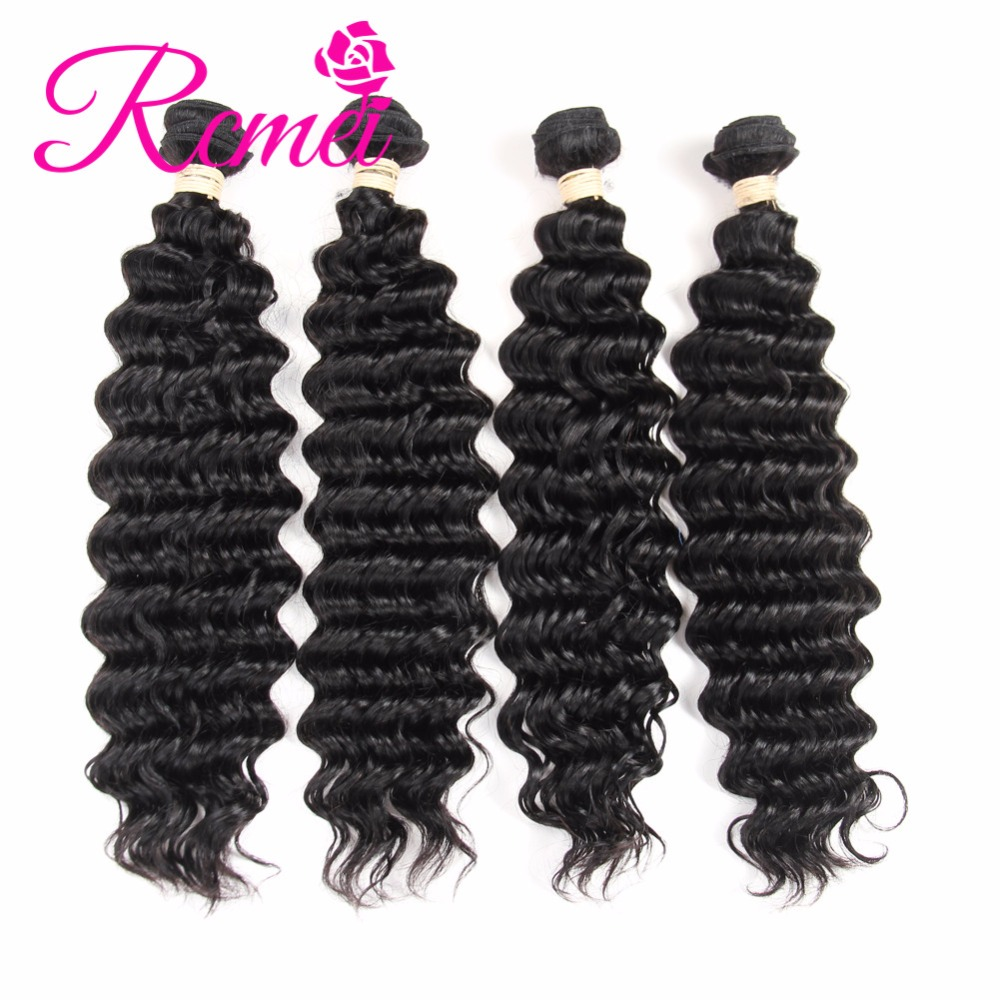 Rcmei Remy Hair Deep Wave Hair Extension Bundles 4 Bundles Deal Brazilian Deep Wave Human Hair Extensions Bundles Natural Black