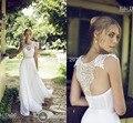 Últimas blanco vintage Vestido De boda 2016 Beach Vestido De novia con encaje sin espalda Vestido De Festa Robe De mariageR50