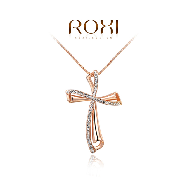 ROXI Brand Luxury Rose Gold Color Cross Women Necklaces Pendant Fashion Czech Stone Necklace for Women Femme Jewelry Wholesale