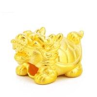Реальные 999 24 k подвеска из желтого золота 3D Для женщин Черепаха Дракон только кулон 21x12 мм