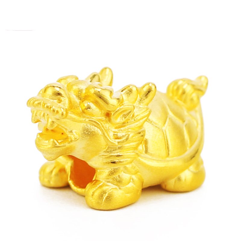 Real 999 24k Yellow Gold Pendant 3D Women Dragon Turtle Only Pendant 21x12mm